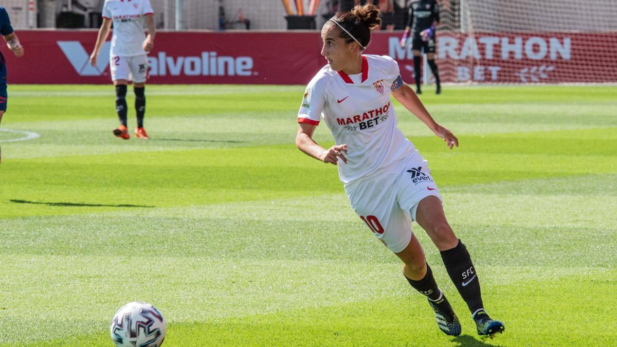 Virgy García, en un partido del Sevilla Femenino