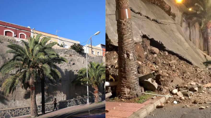 Antes y después del talud derrumbado en el paseo de Chil