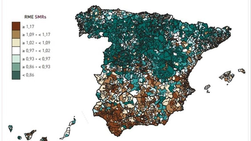 Imagen 2: Razones de mortalidad estandarizadas. Todas las causas. Mujeres. Fuente: Atlas de mortalidad en municipios y unidades censales de España (1984-2004).