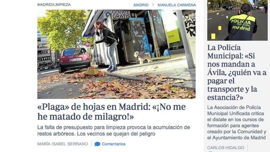 «Plaga» de hojas en Madrid: «¡No me he matado de milagro!»