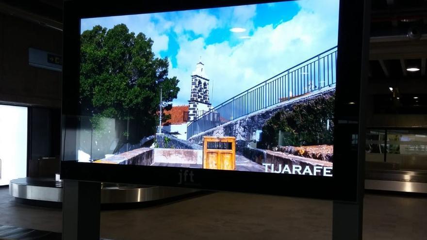 Pantalla con el vídeo promocional de Tijarafe.