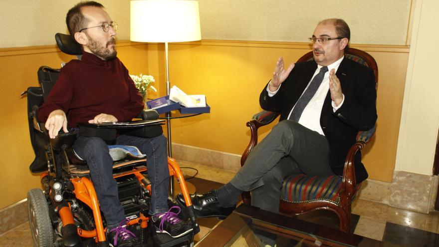 Pablo Echenique y Javier Lambán.
