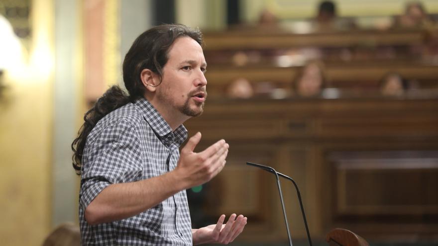 Iglesias interviene en el debate de investidura de Pedro Sánchez con gesto serio, Foto: Marta Jara
