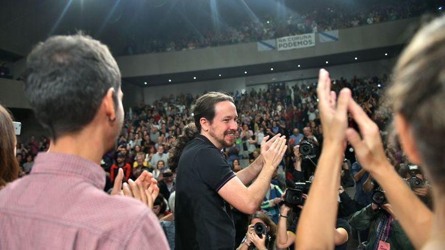 Pablo Iglesias en su mitin de este domingo en A Coruña