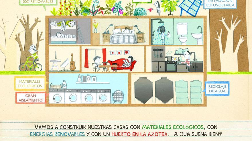 La propuesta de la cooperativa incluye una huerta en la azotea y energías renovvables. / Entrepatios