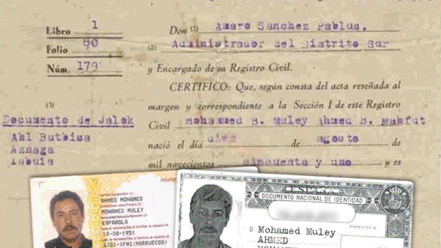 Inscripción de Mohamed Ahmed en el Registro Civil de Sidi Ifni, DNI y pasaporte.