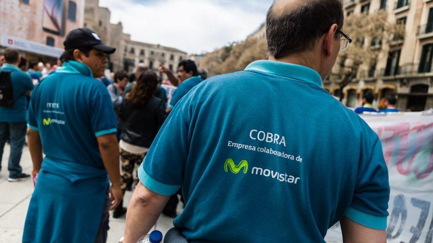 Trabajadores subcontractados de Movistar participaron en la manifestación