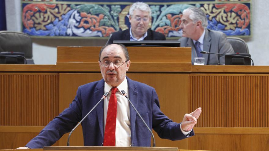 El presidente de Aragón, Javier Lambán, en el Pleno de las Cortes autonómicas de este jueves