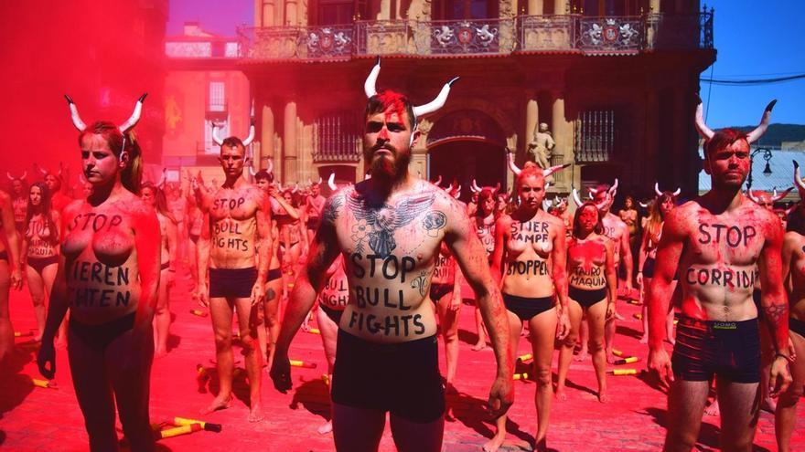 Protestas contra las corridas de toros durante los Sanfermines.