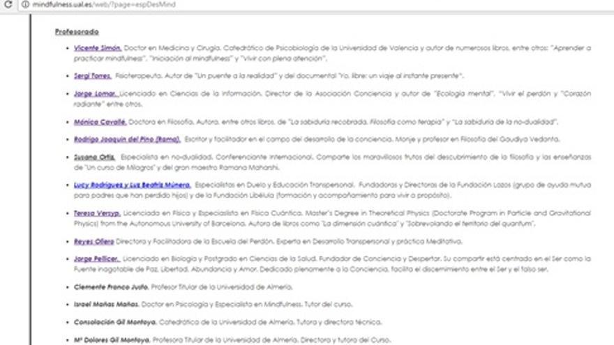 Captura de pantalla con los profesores del curso de especialista