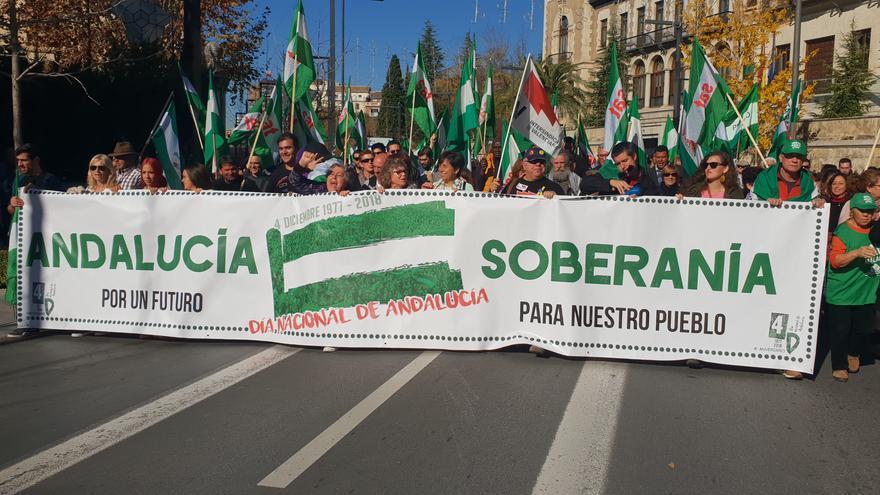 Manifestantes por Gran Vía