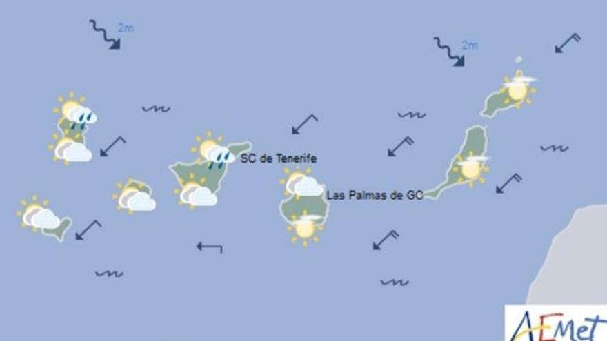 Mapa con la previsión meteorológica para este sábado, 6 de mayo de 2017