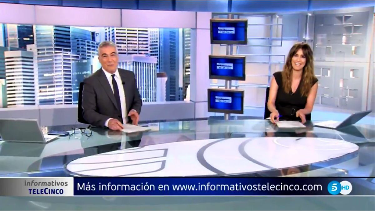 David Cantero e Isabel Jiménez en  'Informativos Telecinco'