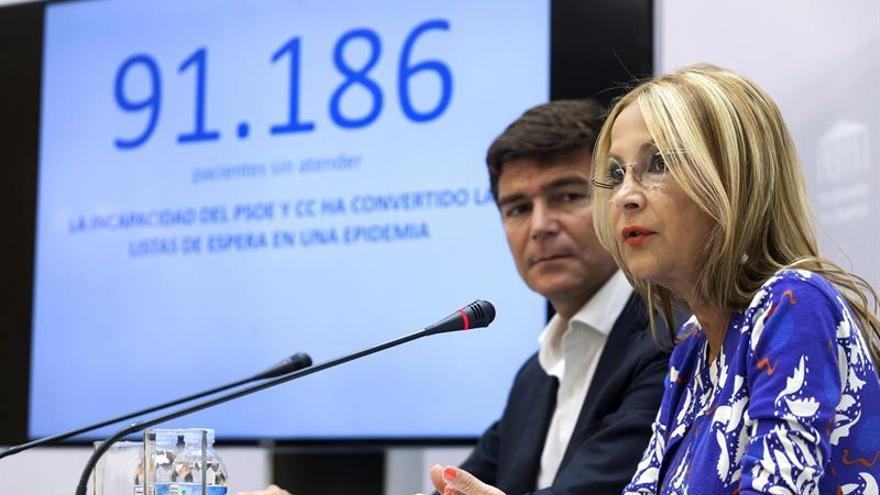 La portavoz del PP en el Parlamento de Canarias, María Australia Navarro, y el portavoz en sanidad, Guillermo Díaz, durante la rueda de prensa.