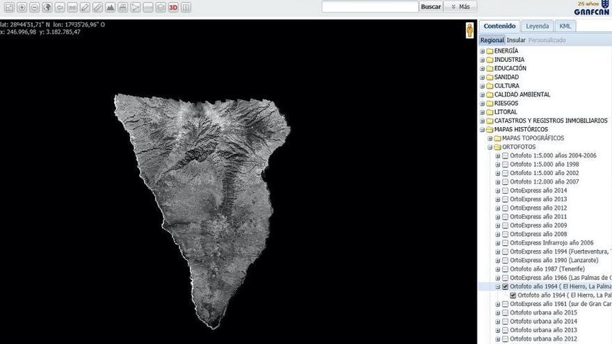 Vista del visor web de la ortofoto histórica de La Palma.