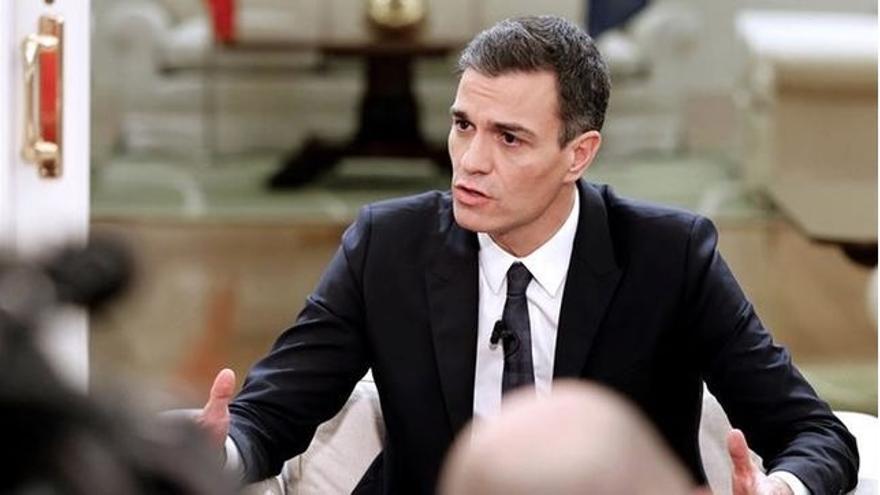 Pedro Sánchez, durante una entrevista en Moncloa.
