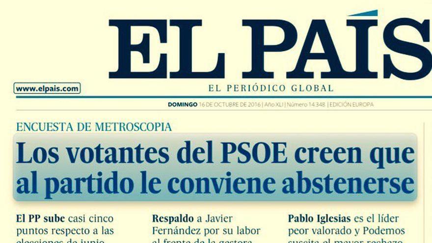 Portada del diario El País sobre la opinión de los militantes del PSOE