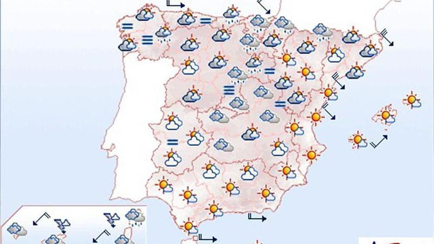 Lluvias localmente fuertes en Canarias y vientos fuertes en Galicia