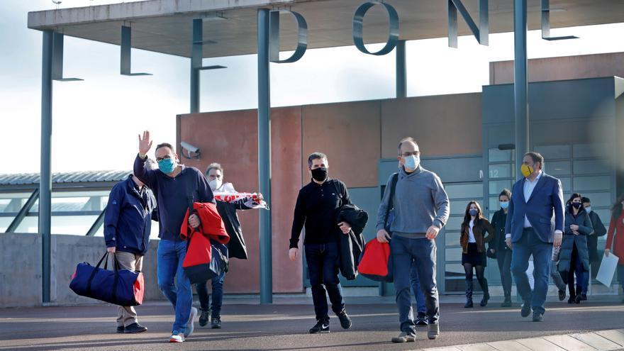 """Los presos del """"procés"""", tras su salida de prisión el pasado 29 de enero. EFE/EFE/Susanna Sáez/Archivo"""