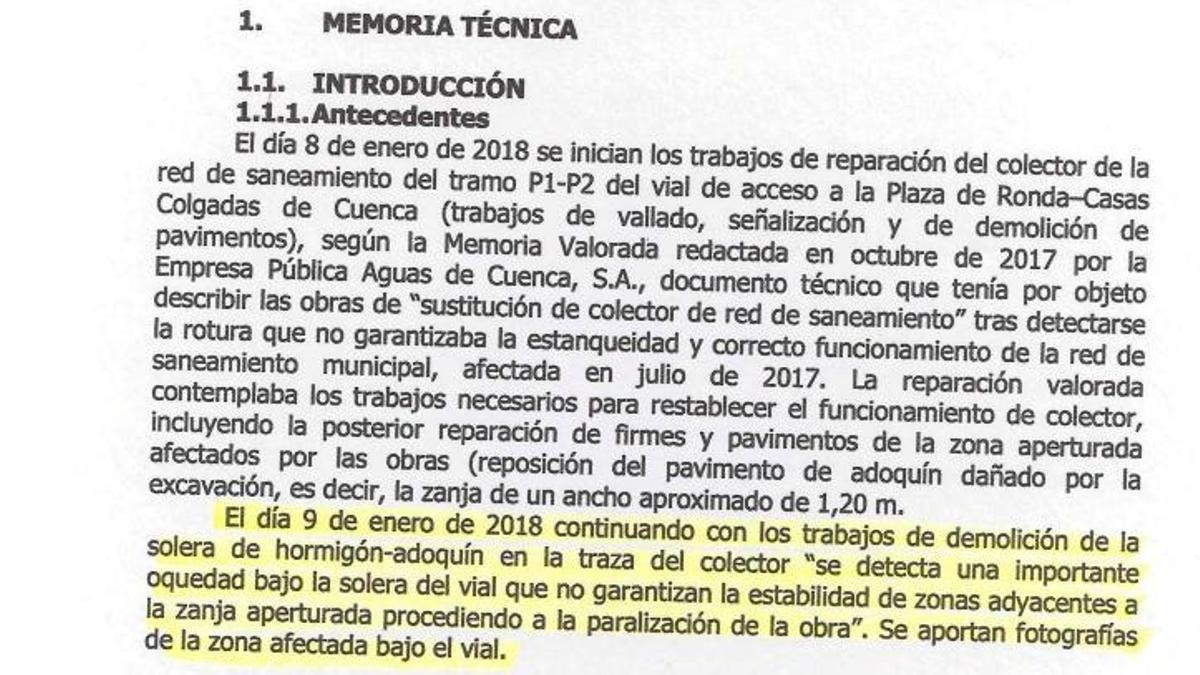 Parte del informe que muestra el Ayuntamiento de Cuenca y que indican que el estado del muro de la calle Canónigos ya se conocía