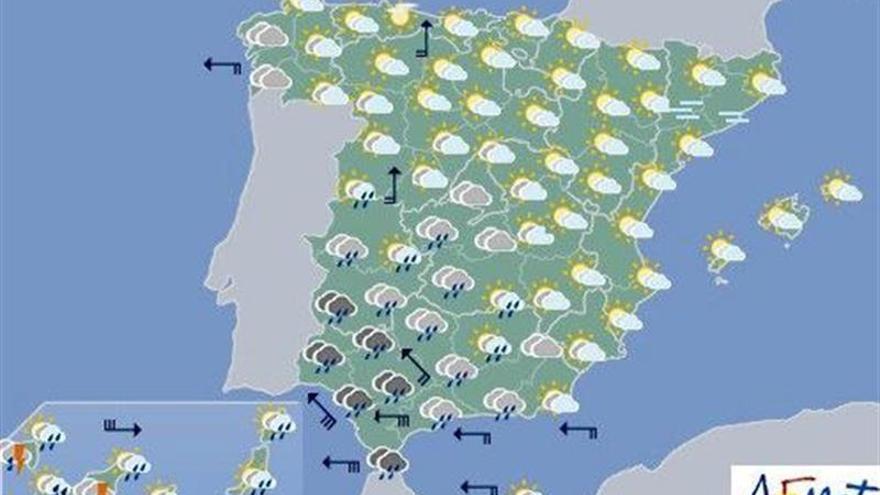Lluvias fuertes en el suroeste y en Canarias para hoy