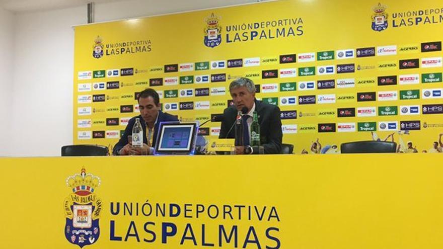 El entrenador de la UD Las Palmas Quique Setién, tras el partido frente al Deportivo de La Coruña en el Estadio de Gran Canaria. (Twitter oficial UD Las Palmas).