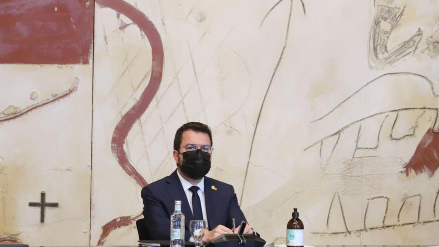 El presidente de la Generalitat, Pere Aragonès, en la reunión del Consell Executiu de este martes 29 de junio.