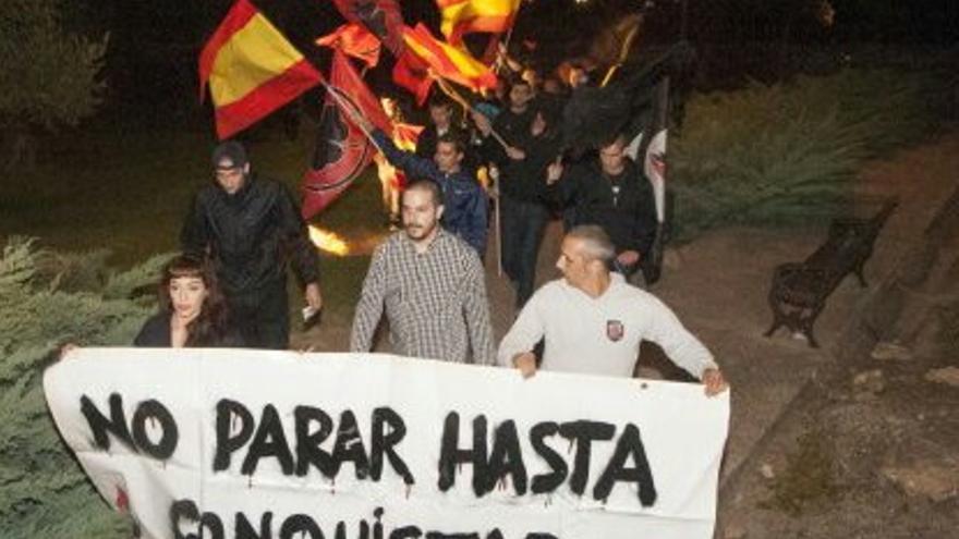 """Manifestación del partido de ultraderecha """"Movimiento Social Republicano"""" en Badajoz / Foto: MSR"""