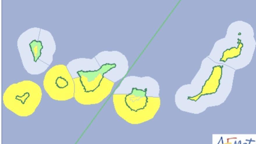 Mapa  de la Aemet del aviso de riesgo por viento y oleaje para este martes, 10 de abril de 2018.