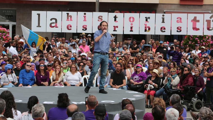 El candidato de Unidas Podemos a presidente del Gobierno, Pablo Iglesias, durante un mitín en Las Palmas de Gran Canaria.
