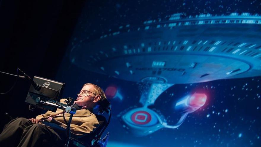 Stephen Hawking durante su conferencia en el Starmus Tenerife 2016