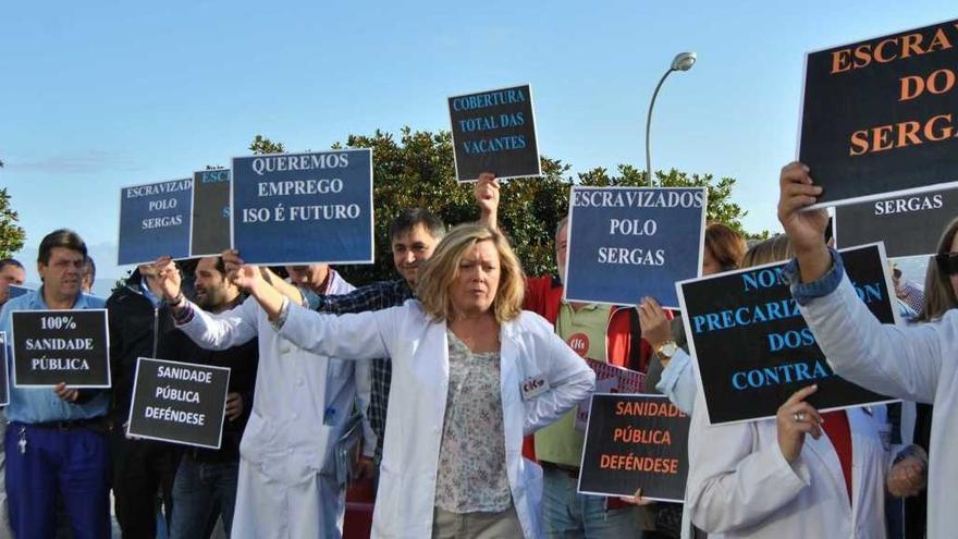 Protesta contra la precariedad laboral en el Sergas
