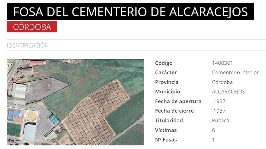 Alcaracejos, en el Mapa de Fosas.