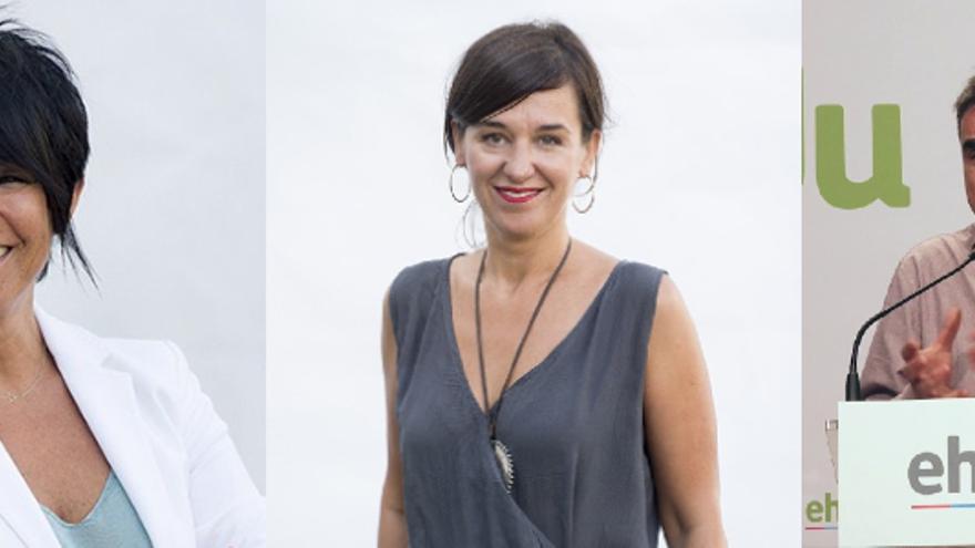 Cabezas de lista de EH Bildu: Iriarte, Agirre y Otero