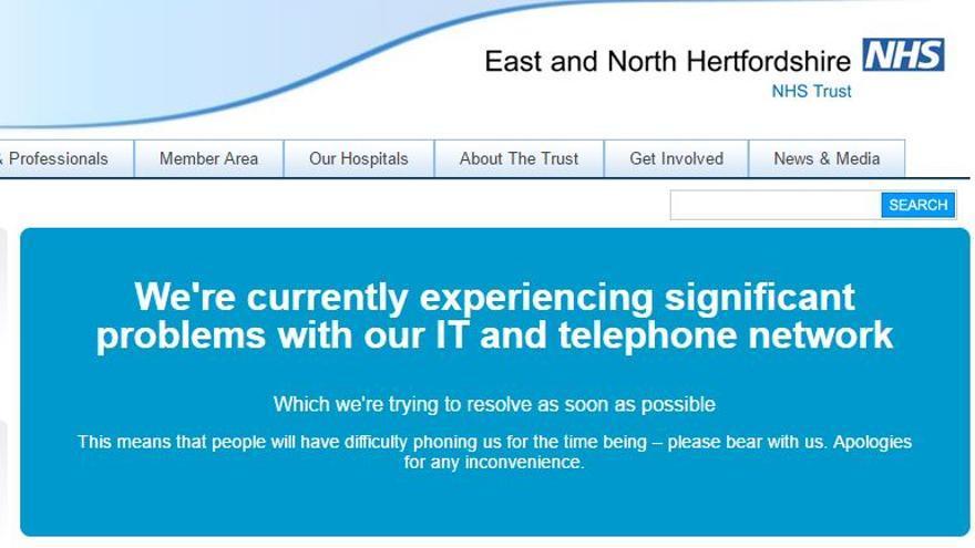 Mensaje que muestra la web de los hospitales afectados por el ataque