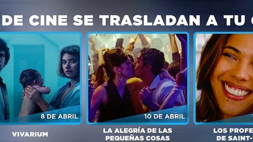 Banner de salavirtualdecine.com com los estrenos de estos días en su web