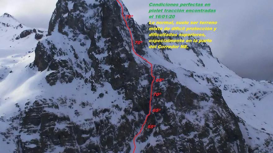 Corredor NE y Cara Norte del Anayet (500m/D, máx 75ºM)