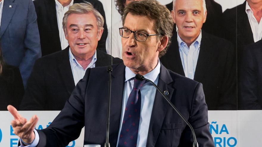 Feijóo, durante el acto electoral en Lugo