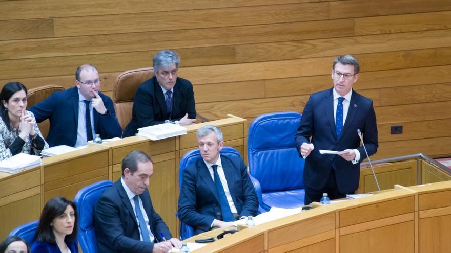 Feijóo, durante la sesión de control a su gobierno de este miércoles en el Parlamento de Galicia