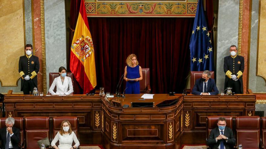 La presidenta del Congreso, Meritxell Batet, interviene en el acto en recuerdo y homenaje a las víctimas del terrorismo, en el Salón de Sesiones del Congreso de los Diputados, a 27 de junio de 2021.