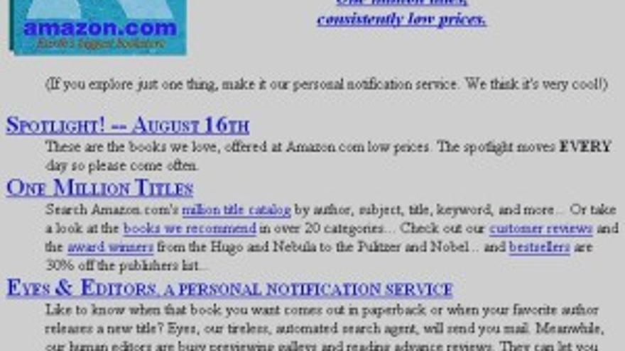 Así era la web original de Amazon