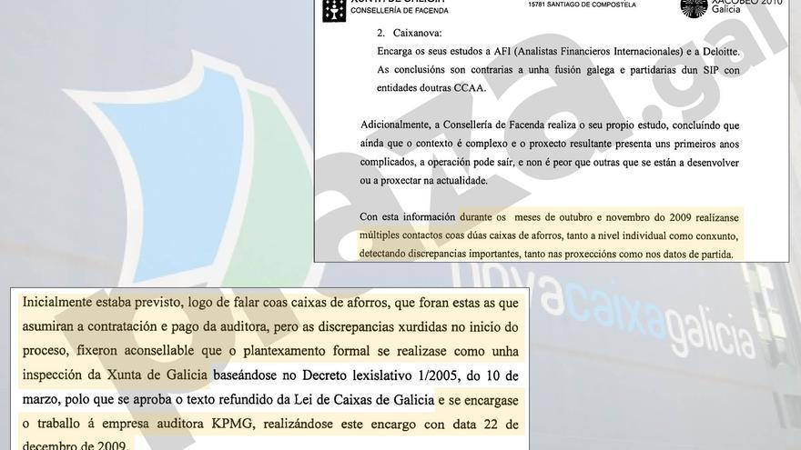 Fragmentos del documento en que la Xunta justifica por qué acabó pagando el informe de KPMG