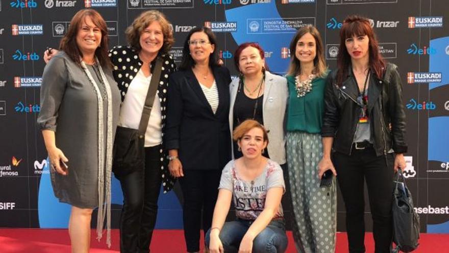 Las protagonistas de 'Volar' durante la presentación en el Zinemaldia.