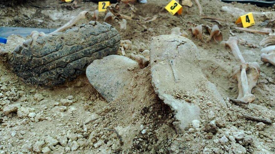 Fosa común exhumada en El Baldío, Alcalá del Valle (Cádiz). / ARMH