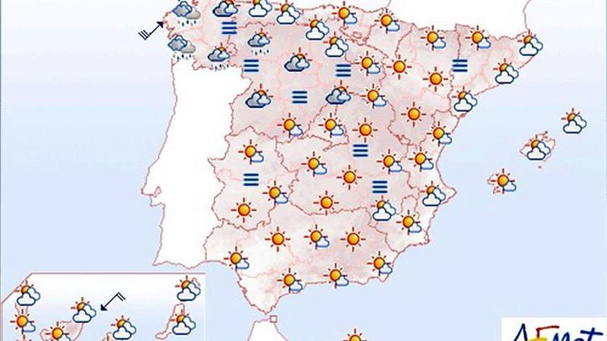 Hoy, ascenso de las temperaturas diurnas en la mayor parte de la península