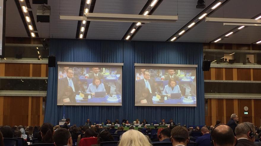 Plenario de la Comisión de Estupefacientes el día 19 de marzo de 2019 en Viena durante el debate sobre el cambio de fiscalización del cannabis.