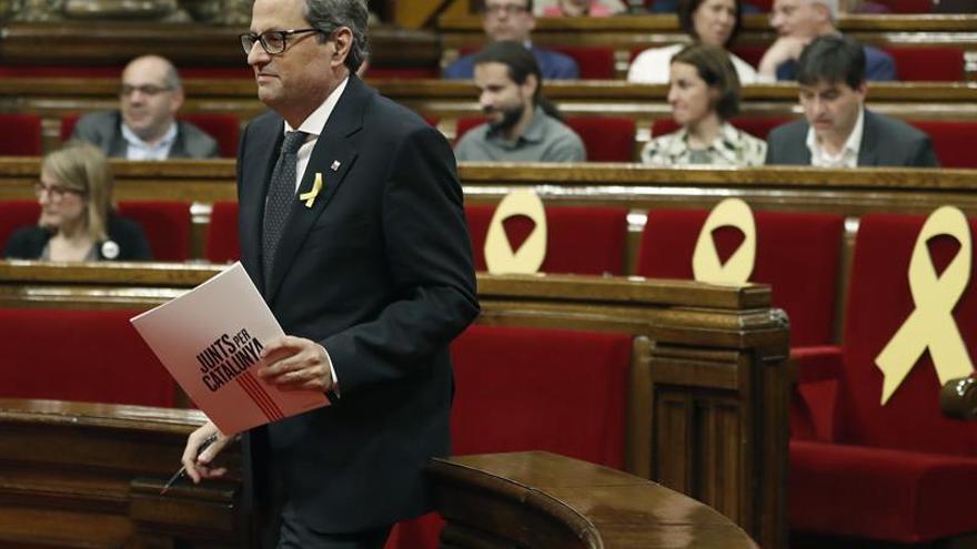 Quim Torra, en un pleno del Parlament.
