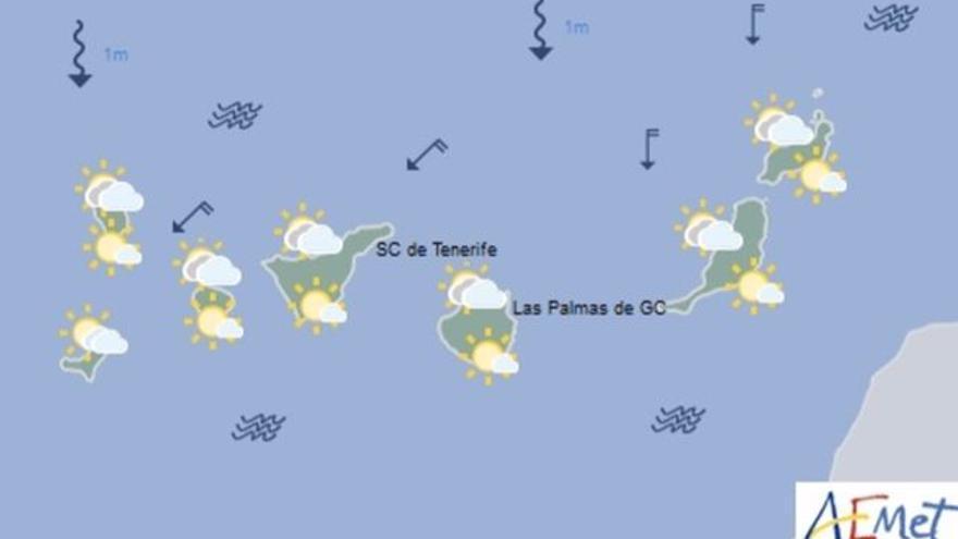 Mapa con la previsión meteorológica para este domingo, 9 de julio de 2017