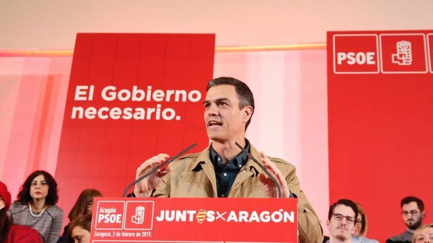 Pedro Sánchez, en un acto del PSOE en Zaragoza