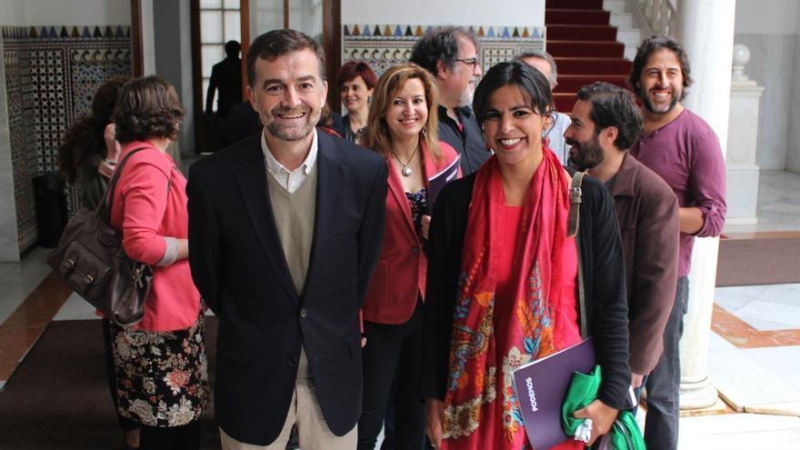 Teresa Rodríguez y Antonio Maíllo, hoy en Sevilla en el primer acto de precampaña de Unidos Podemos en Andalucía